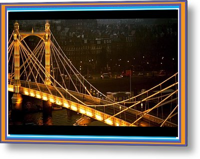 Cable-stayed Gold Sparkle Bridge At Night In London Metal Print