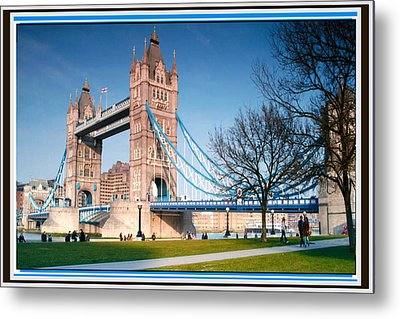 Cable-stayed Walk Way Over Bridge In London Metal Print