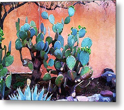 Cactus And Adobe Metal Print by Charlie Spear