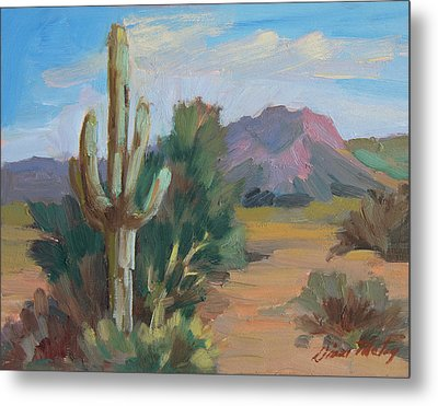 Metal Print featuring the painting Cactus By The Red Mountains by Diane McClary