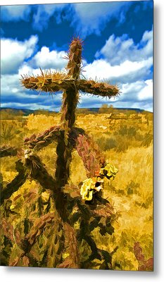 Cactus Cross Metal Print by Lou  Novick