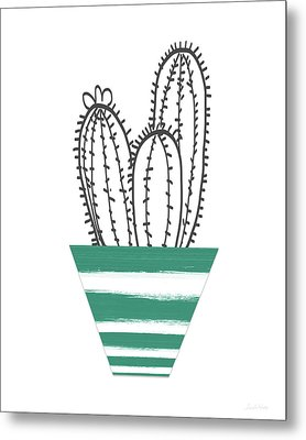 Metal Print featuring the mixed media Cactus In A Green Pot- Art By Linda Woods by Linda Woods