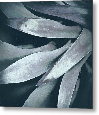 Cactus In Blue And Grey 2 Metal Print by Julie Palencia