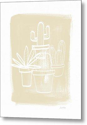 Cactus In Pots- Art By Linda Woods Metal Print by Linda Woods