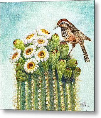 Metal Print featuring the painting Cactus Wren And Saguaro by Marilyn Smith