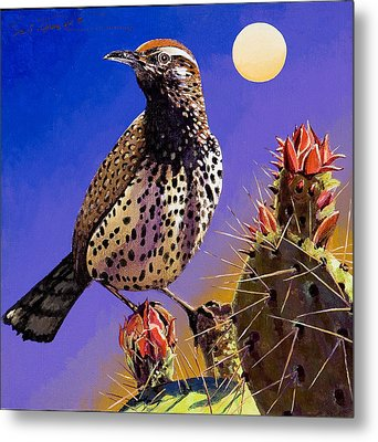 Metal Print featuring the painting Cactus Wren by Bob Coonts