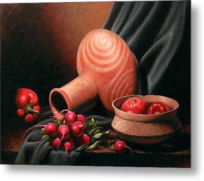 Caddo Jar - Red Study Metal Print by Timothy Jones