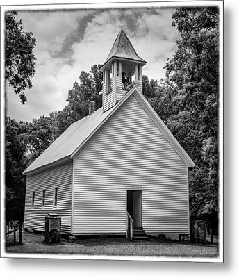 Cades Cove Primitive Baptist Church - Bw W Border Metal Print by Stephen Stookey