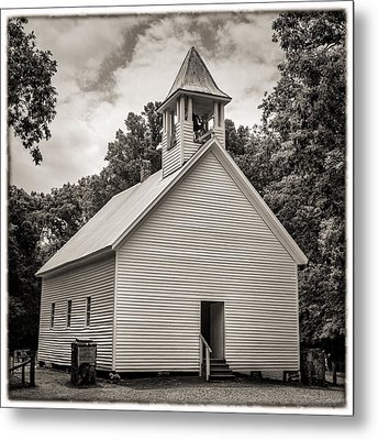 Cades Cove Primitive Baptist Church - Toned Bw W Border Metal Print by Stephen Stookey