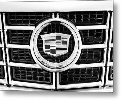 Cadillac Emblem Front Bw Metal Print