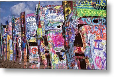 Cadillac Ranch Afternoon Painterly Metal Print by Joan Carroll