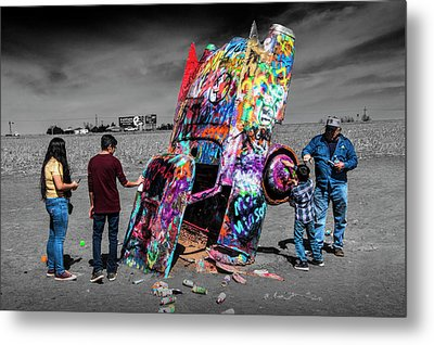 Metal Print featuring the photograph Cadillac Ranch Spray Paint Fun Along Historic Route 66 By Amarillo Texas by Randall Nyhof