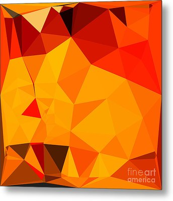 Cadmium Yellow Abstract Low Polygon Background Metal Print by Aloysius Patrimonio