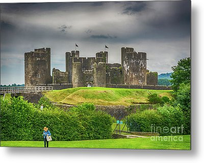 Caerphilly Castle East View 1 Metal Print by Steve Purnell
