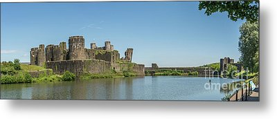 Caerphilly Castle Panorama South View Metal Print