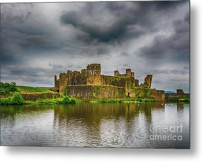 Caerphilly Castle South East View 1 Metal Print by Steve Purnell