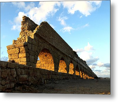 Caesarea  Aqueduct At Sunset. Metal Print