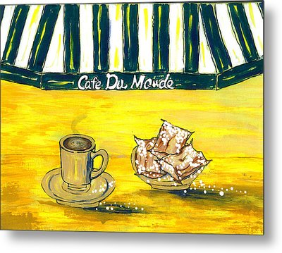 Cafe Au Lait And Beignets On Yellow Background Metal Print by Catherine Wilson