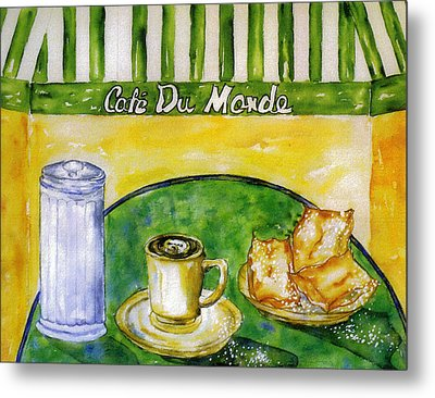 Cafe Au Lait And Beignets With Sugar Metal Print by Catherine Wilson