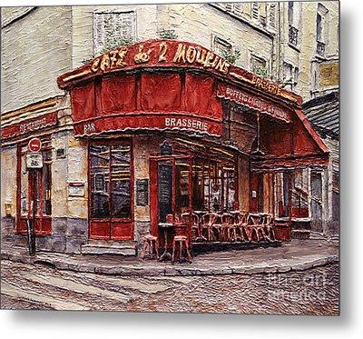 Cafe Des 2 Moulins- Paris Metal Print by Joey Agbayani
