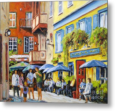Cafe In The Old Quebec Metal Print by Richard T Pranke