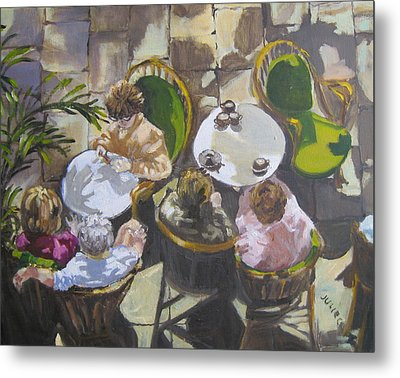 Metal Print featuring the painting Cafe by Julie Todd-Cundiff
