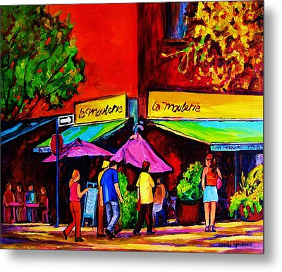 Cafe La Moulerie On Bernard Metal Print by Carole Spandau