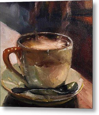 Cafe Love Coffee Painting Metal Print