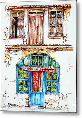 Cafe Ouzeri Metal Print by Maria Barry