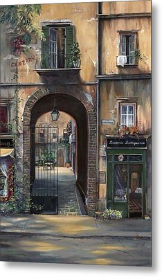 Cafe Sienna Italy Metal Print by Barbara Davies