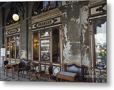 Cafe Terrace On Piazza San Marco Metal Print by Sami Sarkis