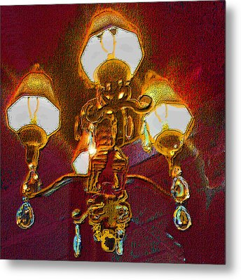 Cafe Chandelier Metal Print by ARTography by Pamela Smale Williams