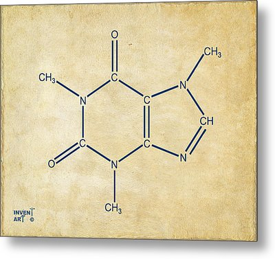 Caffeine Molecular Structure Vintage Metal Print by Nikki Marie Smith
