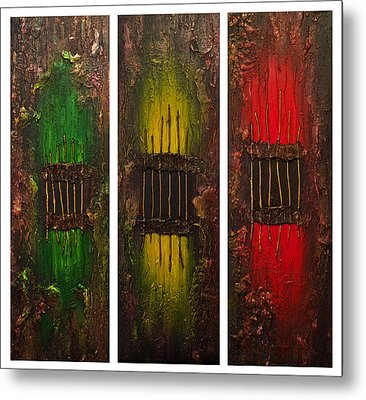 Metal Print featuring the painting Caged 2 by Patricia Lintner
