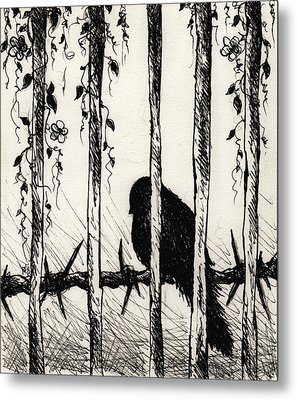 Caged Bird Metal Print by Rachel Christine Nowicki