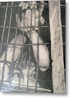 Metal Print featuring the drawing Caged by Jean Haynes