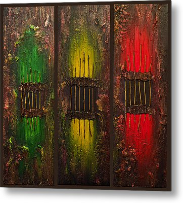 Metal Print featuring the painting Caged Abstract by Patricia Lintner