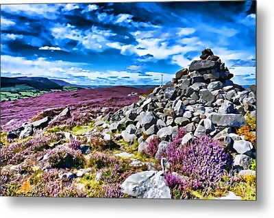 Metal Print featuring the photograph Cairn And Heather by Les Bell