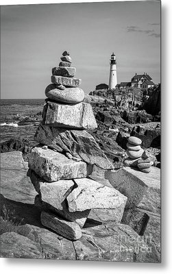 Cairn And Lighthouse  -56052-bw Metal Print