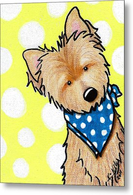 Cairn Terrier On Dotted Yellow Metal Print by Kim Niles