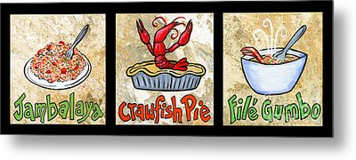 Cajun Food Trio Metal Print by Elaine Hodges