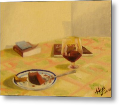 Cake And Wine Metal Print by Anil Singh
