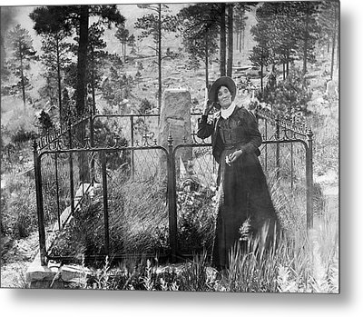 Metal Print featuring the photograph Calamity Jane At Wild Bill Hickok's Grave 1903 by Daniel Hagerman