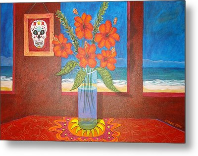 Calavera In Paradise Metal Print by Manny Chapa