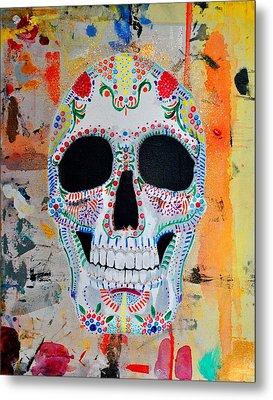 Metal Print featuring the painting Calavera by Josean Rivera