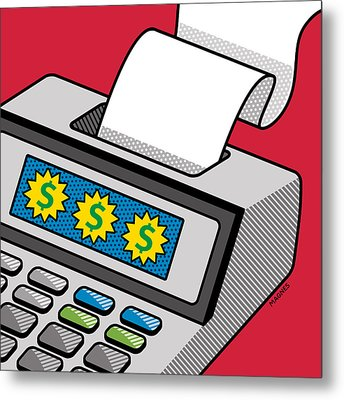 Metal Print featuring the digital art Printing Calculator by Ron Magnes