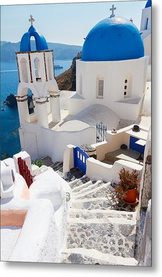 Caldera With Stairs And Church At Santorini Metal Print by Anastasy Yarmolovich