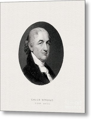 Caleb Strong, Engraved Portrait Metal Print by Celestial Images