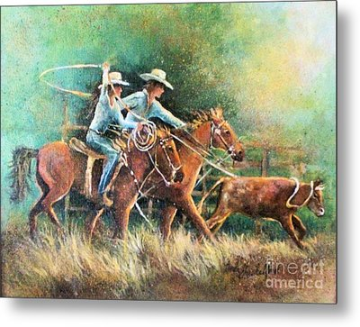 Calf Roping Metal Print by Linda Shackelford