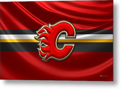 Calgary Flames - 3d Badge Over Flag Metal Print by Serge Averbukh